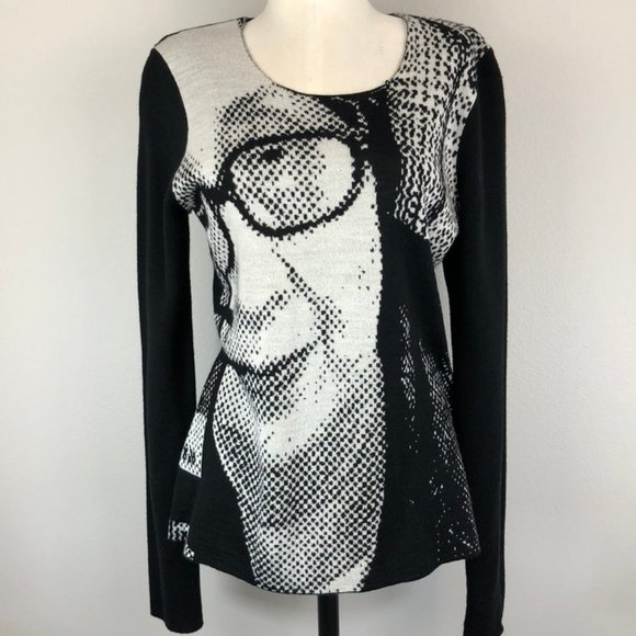 Junya Watanabe Pop-Art Intarsia Portrait Sweater
